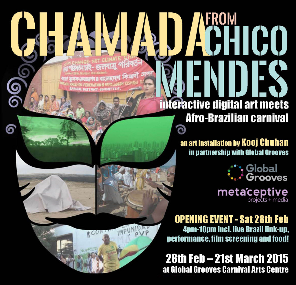 CHAMADA FROM CHICO MENDES combines Digital Art, Afro-Brazilian Carnival, Environmental Activism. Installation art by Kooj Chuhan.